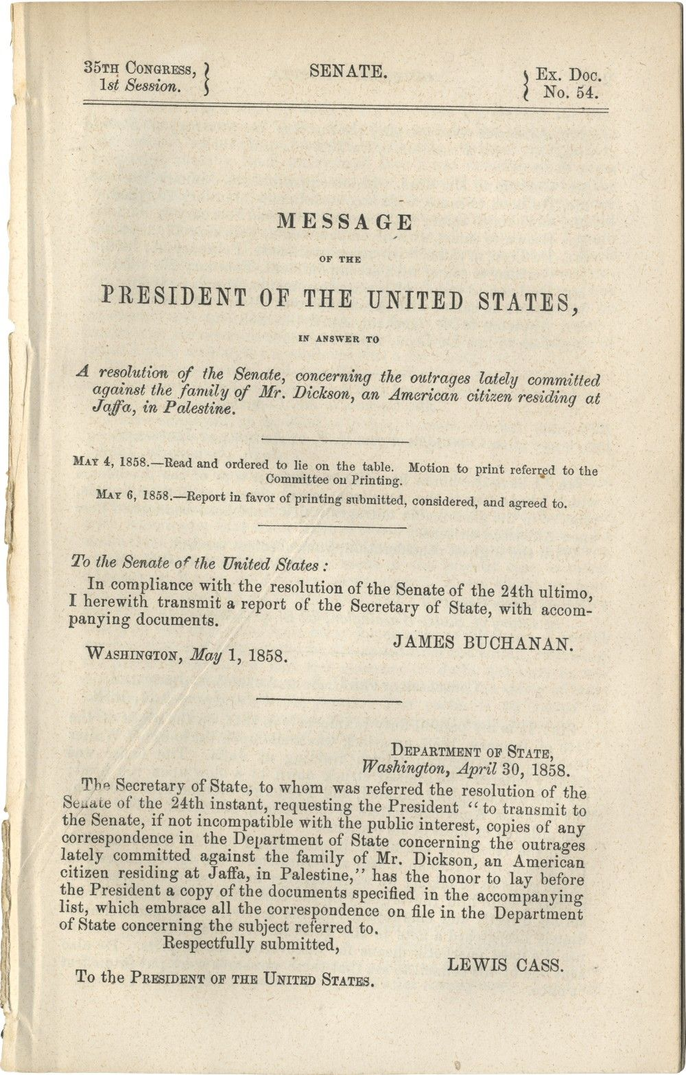 """1858 Senate Report Regarding the """"Outrages at Jaffa"""" - The Rape and Murder of the Dickson Family Colony"""