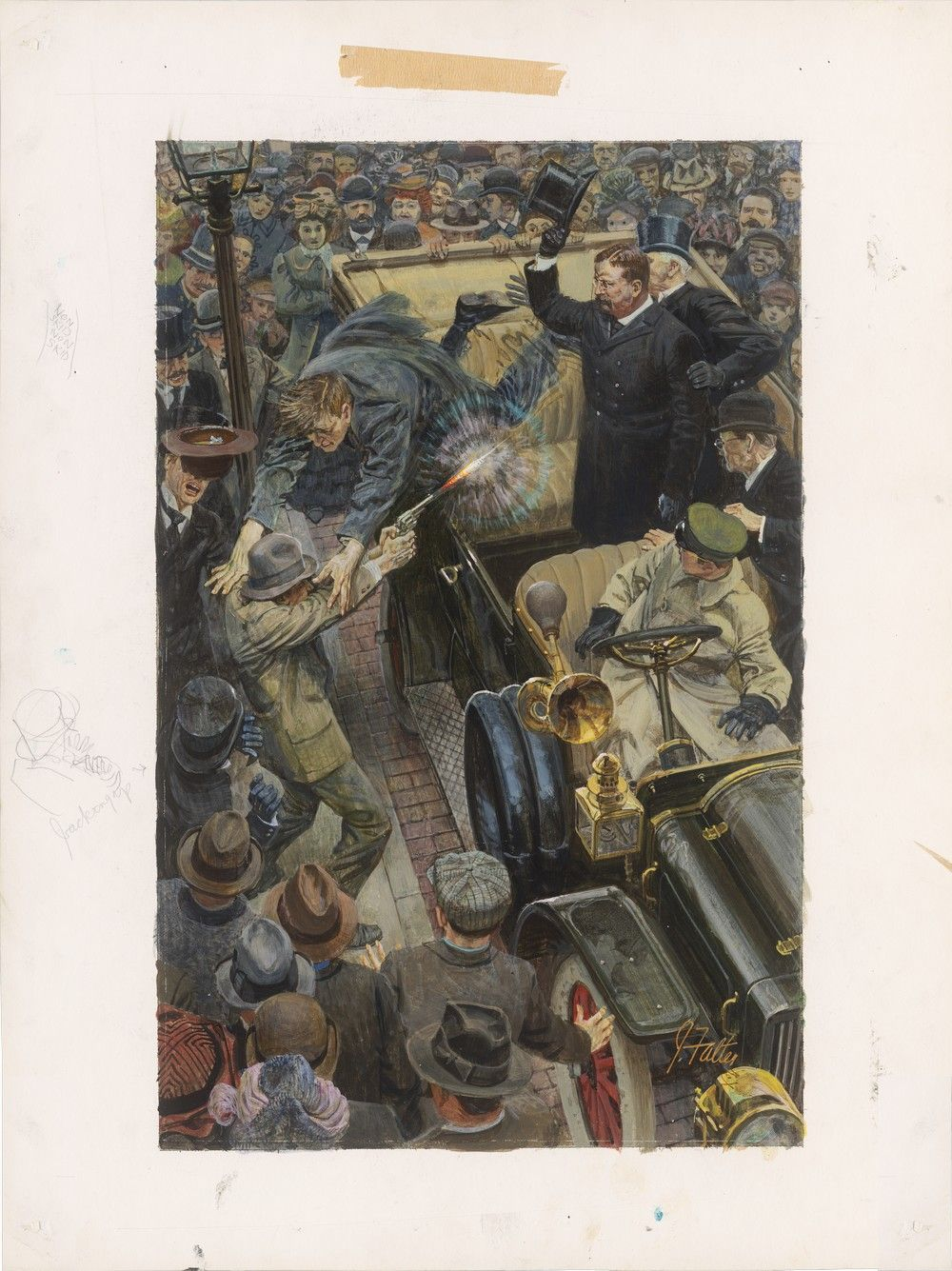 Famous Painting by John Falter of the 1912 Attempted Assassination of Theodore Roosevelt