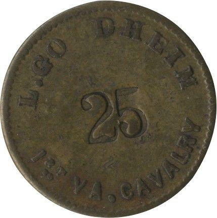 Civil War 25-Cent Sutler Token From L. Goldheim of J.E.B Stuart's 1st Virginia Cavalry