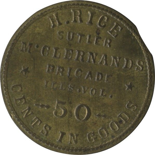 50 Cent Civil War Sutler Token of Jewish Sutler and Abraham Lincoln Friend, Henry Rice