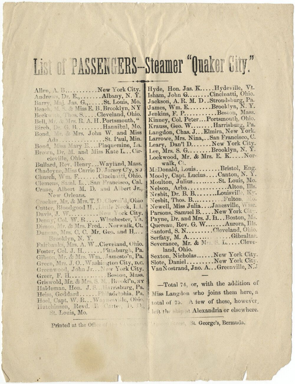 "A Rare List of the Passengers of the ""Quaker City"" Excursion to the Holy Land"