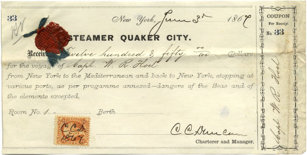 "Rare Receipt for Passage on the 1867 ""Quaker City"" Excursion to the Holy Land"