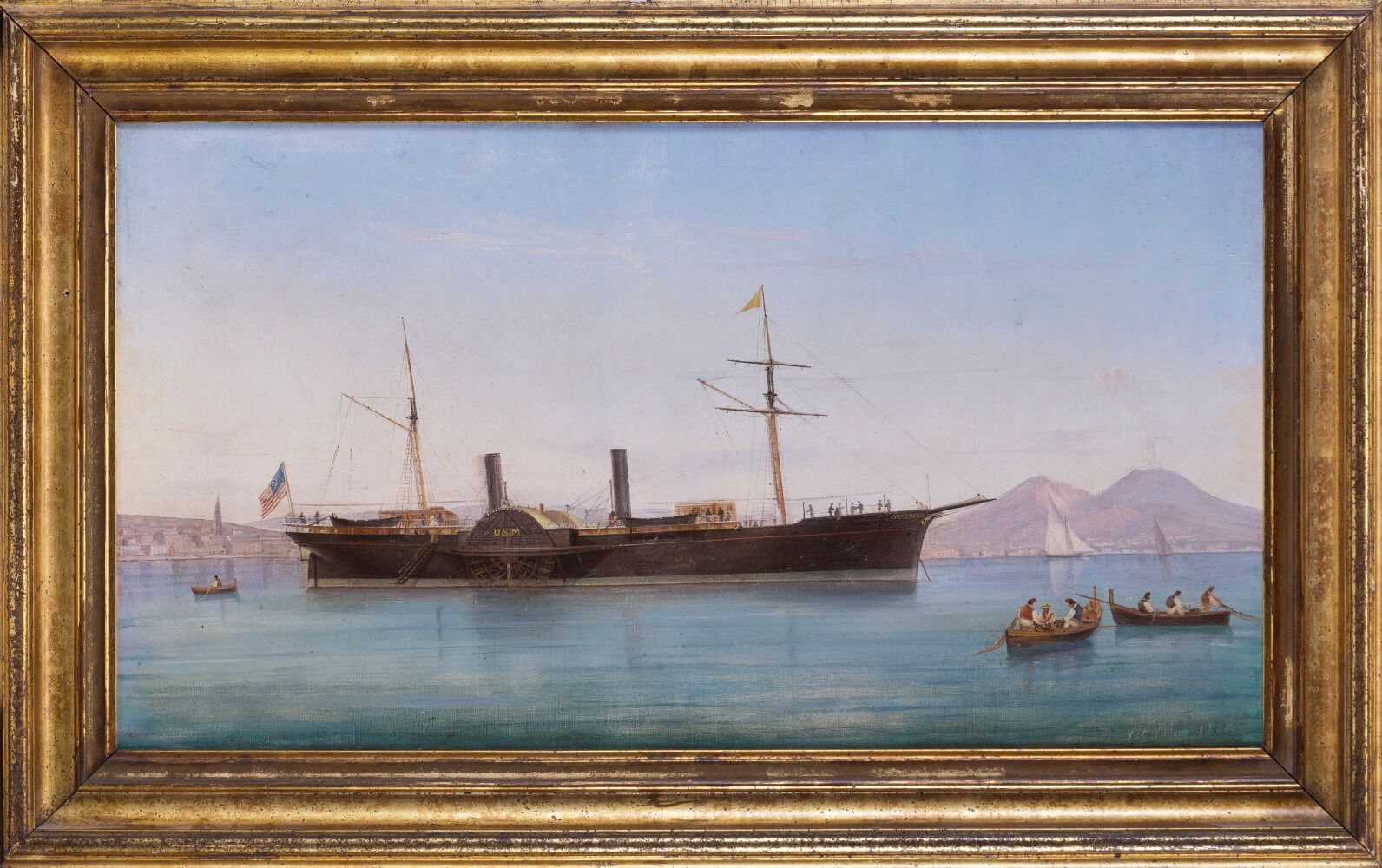 "Original Painting of the Steamship ""Quaker City"" Moored at Naples on its Excursion to the Holy Land"