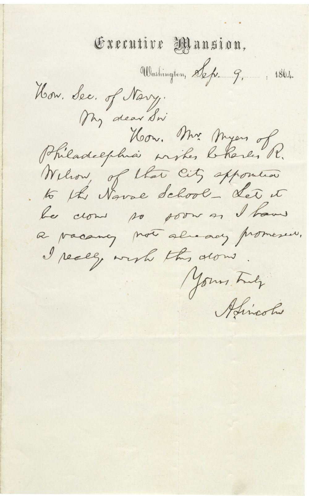 Writing to Gideon Welles, Abraham Lincoln Attends to a Request From Jewish Congressman Leonard Myers