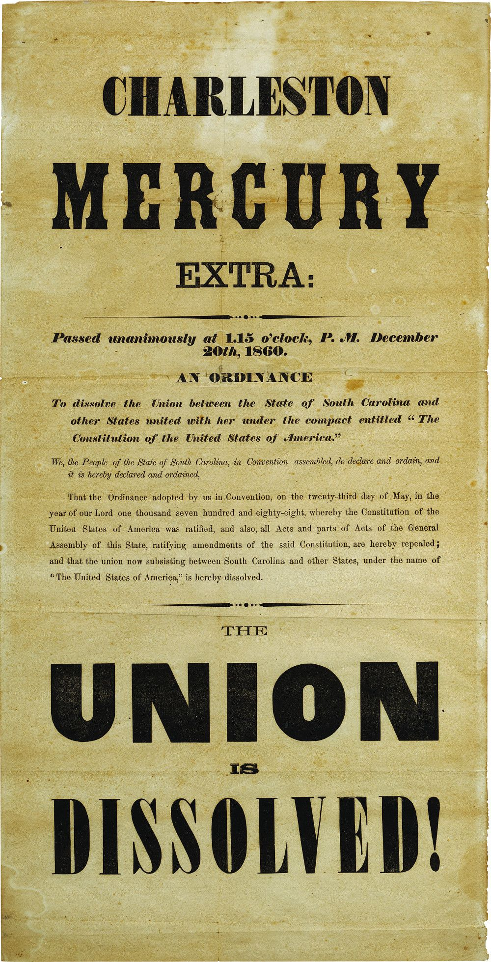"""Union is Dissolved!"" - South Carolina Secession Ordinance Poster"