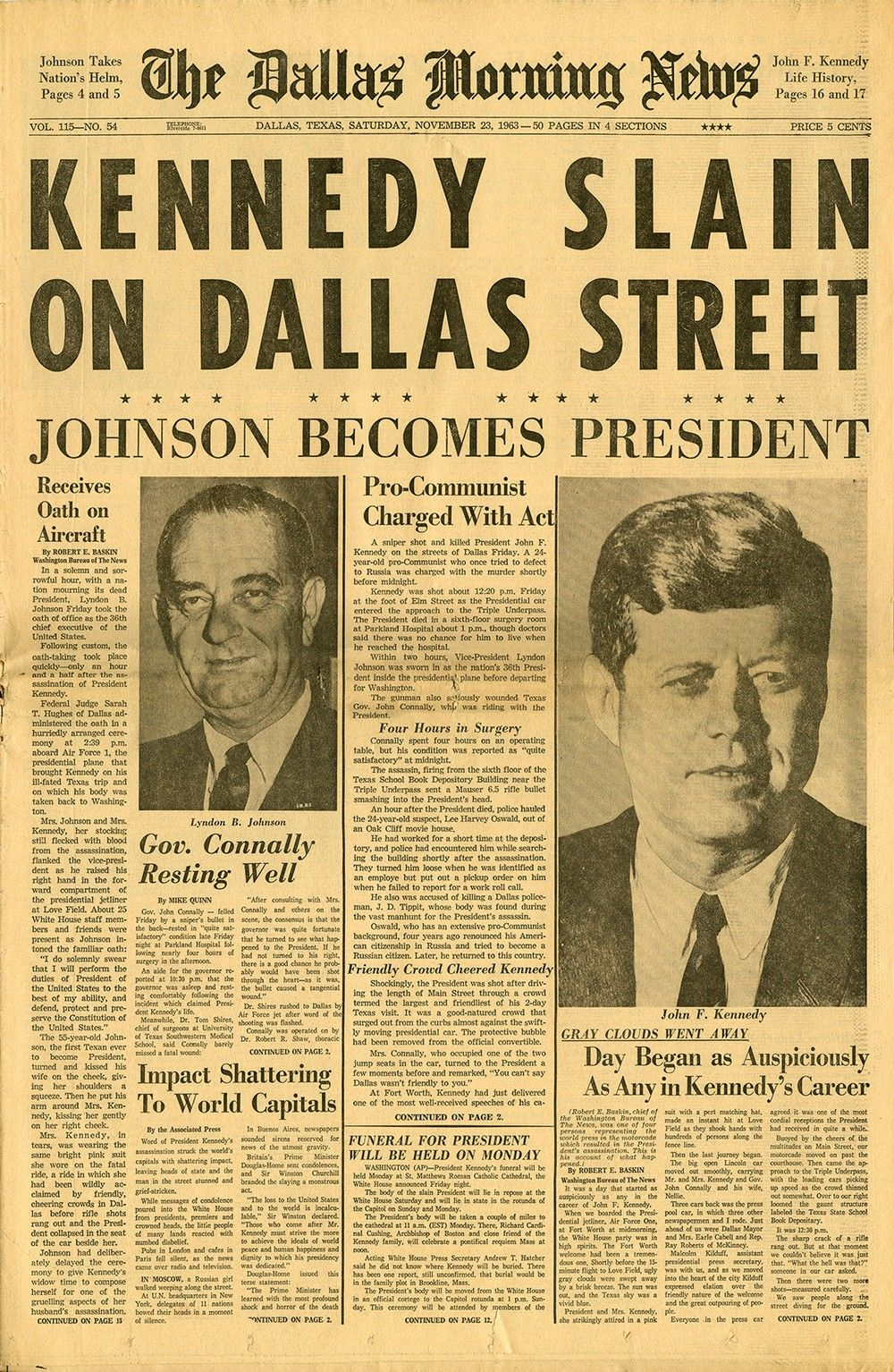 """Kennedy Slain on Dallas Street"" - The Dallas Morning News November 23, 1963 Edition"