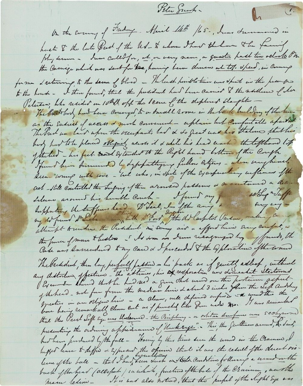 Abraham Lincoln's Final Hours, Death, and Autopsy Report Documented by Dr. Robert Stone