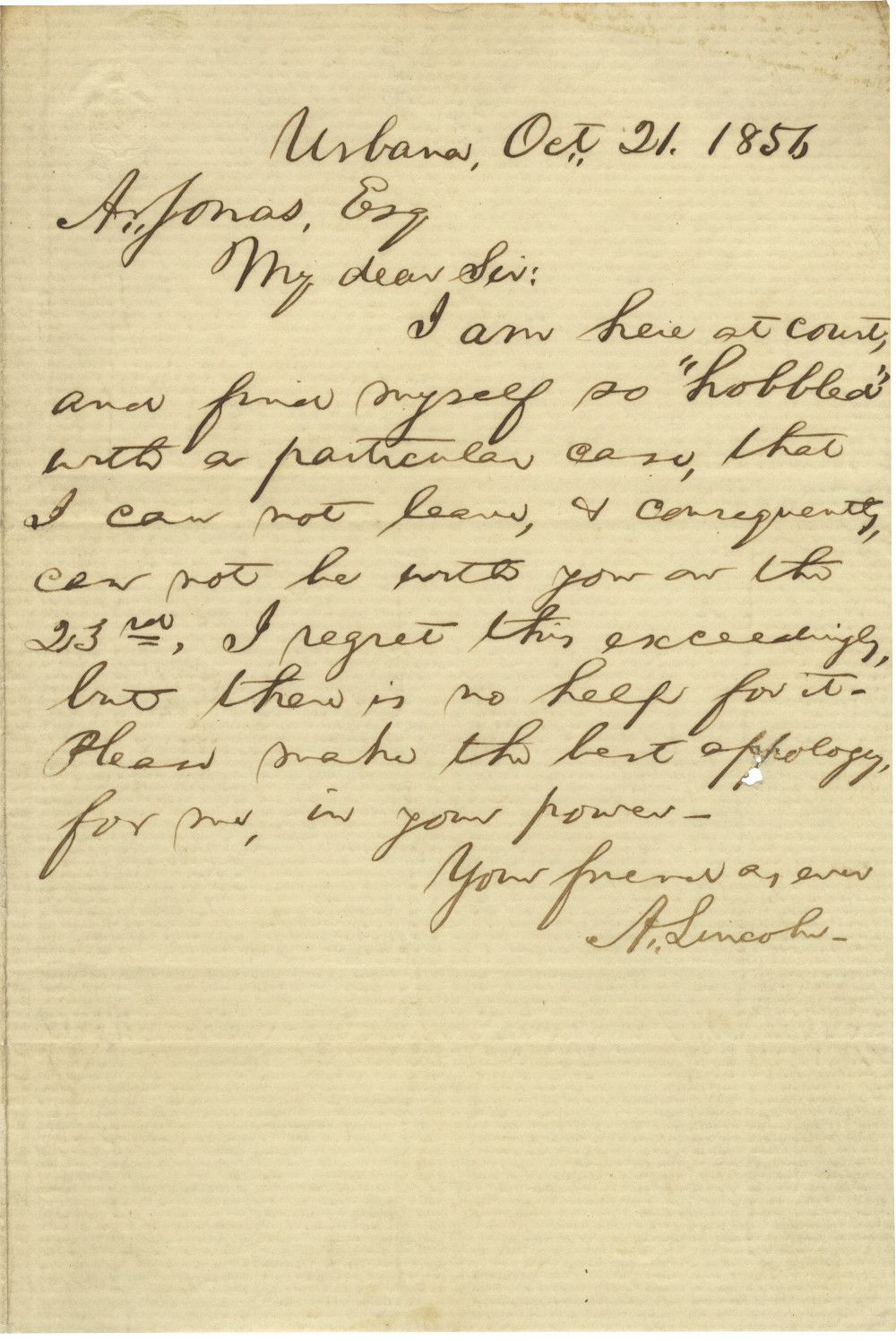 "Rare Abraham Lincoln Letter to His Dear Friend Abraham Jonas - He is ""Hobbled"" by a Troublesome Nephew"