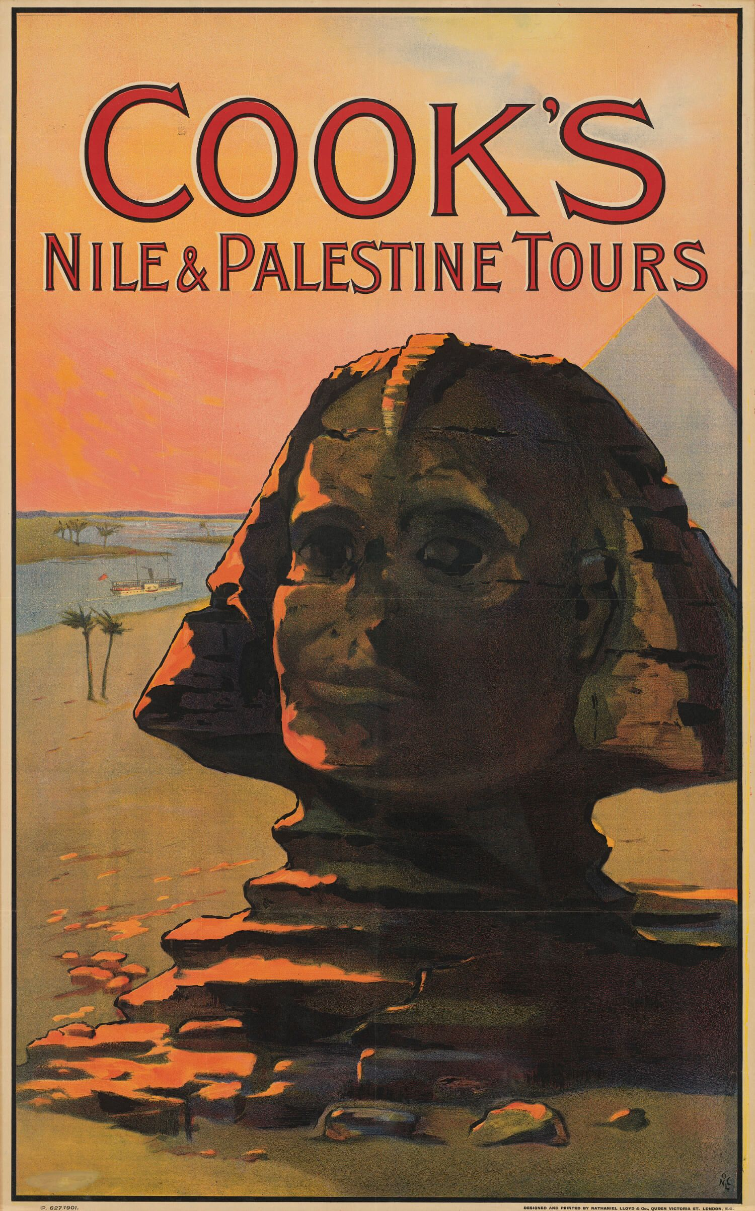 Original 1900 Cook's Travel Poster - Nile & Palestine, with Sphinx
