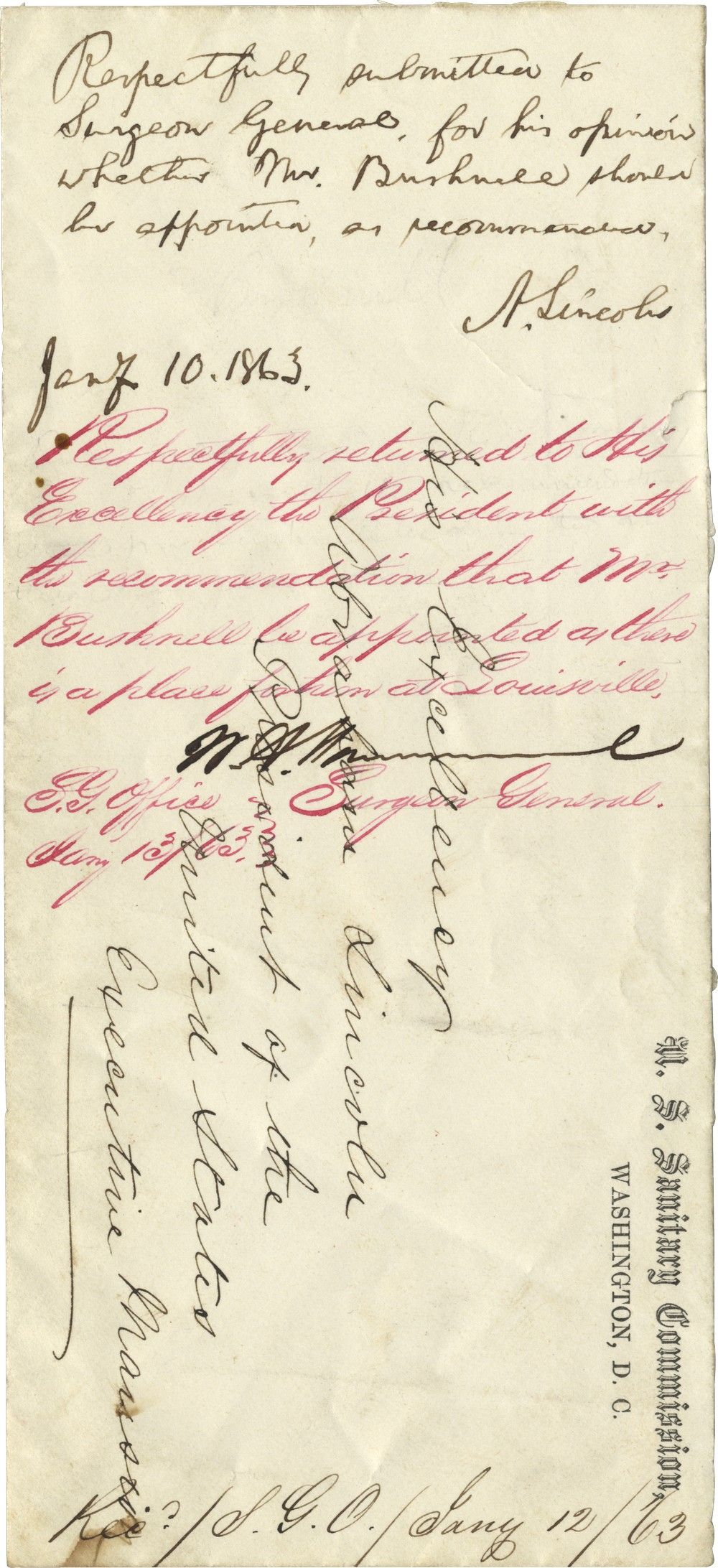 Abraham Lincoln Queries the Surgeon General of the Army About an Appointment