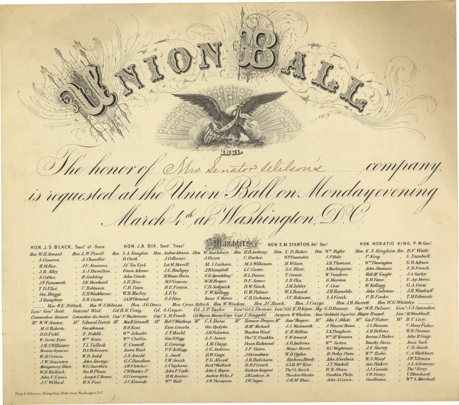 Abraham Lincoln's Inaugural Ball , 1861: Invitation Printed By, and Naming as a Ball Manager, Adolphus S. Solomons