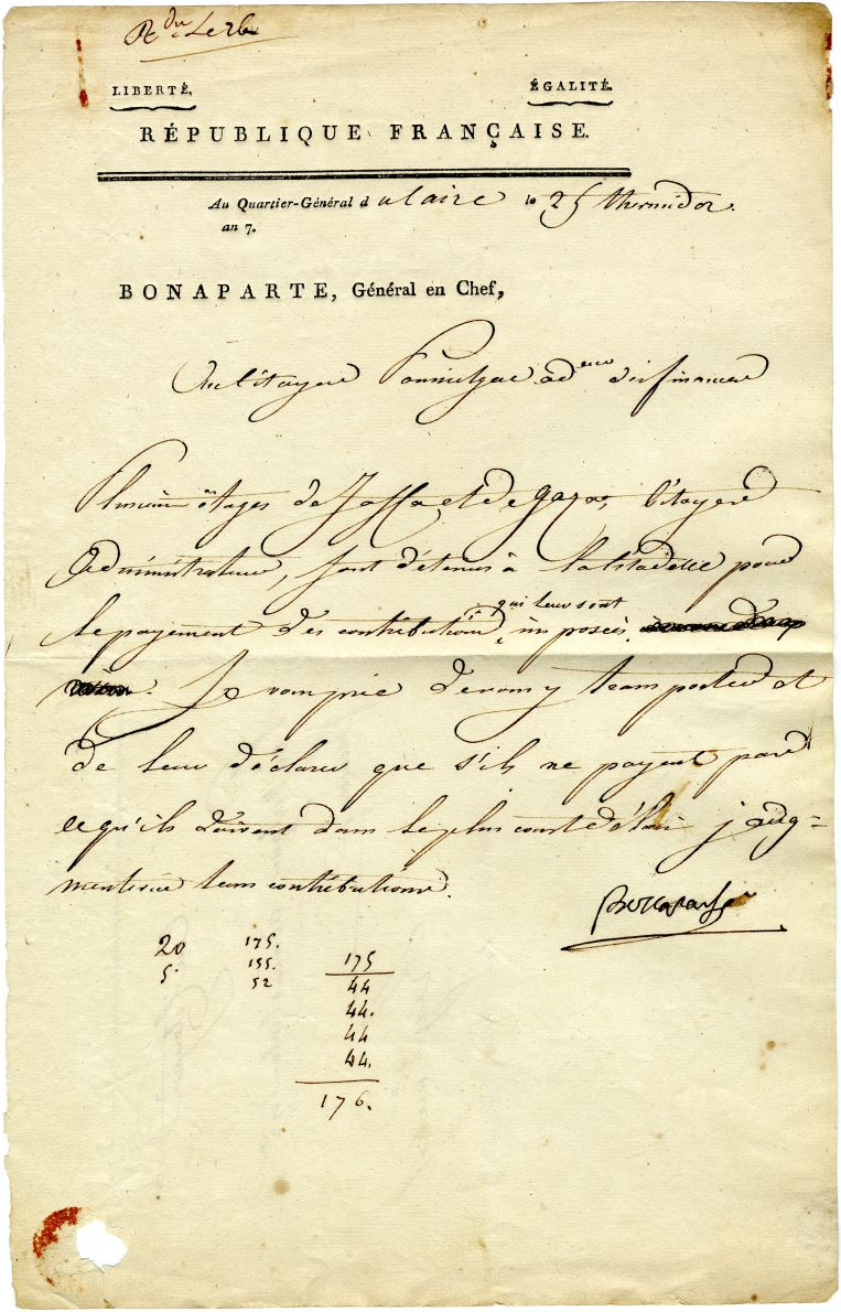 Napoleon, Failing To Conquer Palestine, Orders The Ransoming Of Prisoners: August 1799