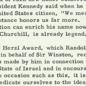 President Lyndon Johnson Salutes Sir Winston Churchill's Commitment to Zionism