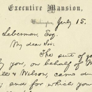President Abraham Lincoln Thanks a Jewish Philadelphian for the Gift of a Suit