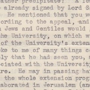 Chaim Weizmann to Orde Wingate's Widow About a Memorial for Wingate at Hebrew University in Jerusalem