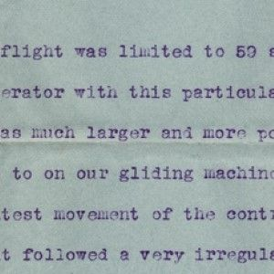 An Early and Rare Account by Orville Wright of the First Flight at Kitty Hawk