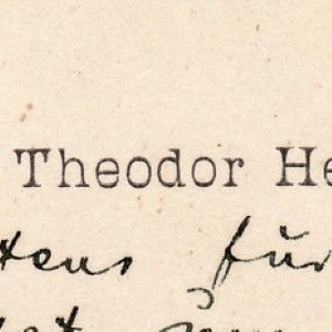Theodor Herzl, Hustling and Bustling, Sends Thanks for a Joke