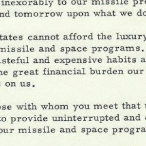 John F. Kennedy: National Security and Future of the Space Program Depend on Ending Labor Strife Delays