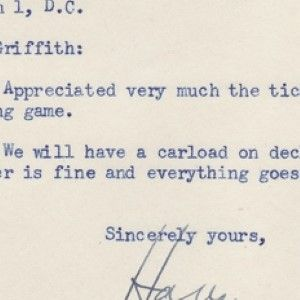 Harry Truman Letter Written as Vice-President But Signed as President with