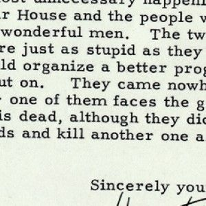 President Harry Truman Writes about the Assassination Attempt on His Life Just the Day Before
