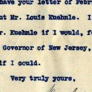 Woodrow Wilson Explains That He Wouldn't, and Couldn't, Pardon Atlantic City Boss Kuehnle