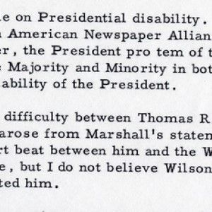 Harry Truman Muses on Presidential Succession and Disability
