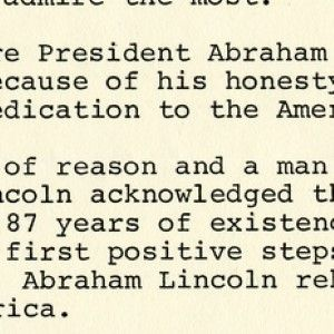 President Gerald Ford Writes About His Admiration of Abraham Lincoln