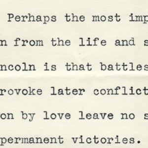 President Herbert Hoover, on the Lessons to be Drawn from Abraham Lincoln's Life