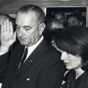 Signed Photo of Lyndon Johnson Taking the Oath of Office Inscribed to the Photographer