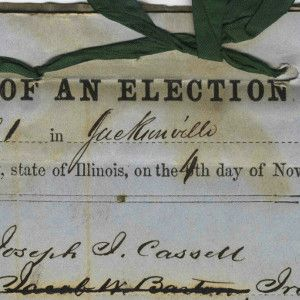 1856 Poll Book Certifying Abraham Jonas, Lincoln's Intimate Jewish Friend, an Elector